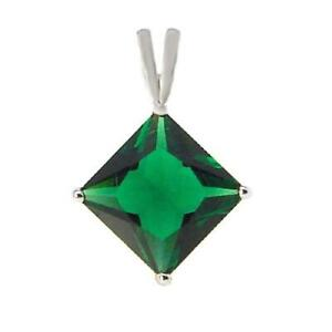 2 ct. Emerald Solitaire Diamond Shape Pendant Necklace in Solid Sterling Silver