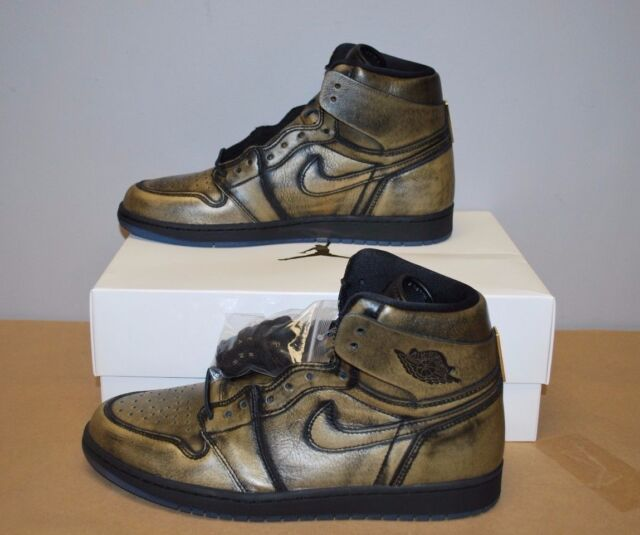 86c5fde61fd Nike Air Jordan Retro 1 OG Wings Black Metallic Gold AA2887-035 Men s Sz