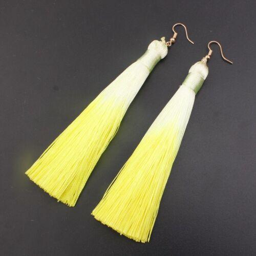 1 Pair Women New Gradient Color Style Long Tassel Dangle Fringe Hook Earrings