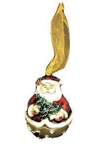 "Enamel 2.5"" Santa Trinket Box with Crystals Christmas Ornament Decor"