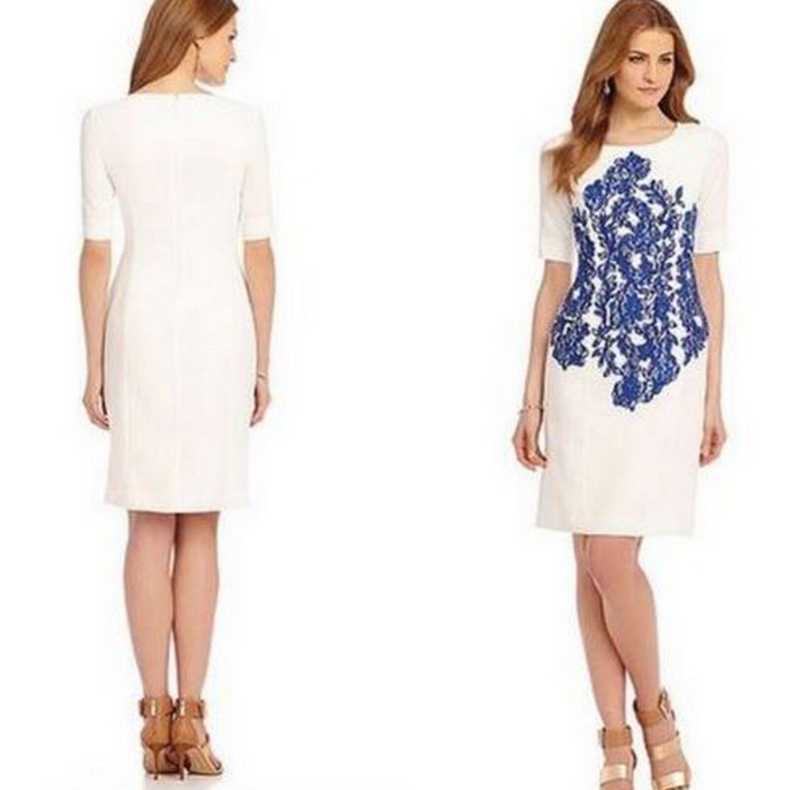 Katherine Kelly Ivory Cobalt bluee Lace-Embroidered Sheath Dress 10, 12