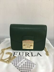 Image is loading FURLA-METROPOLIS-Mini-Crossbody-Bag-Moss-Green-Auth