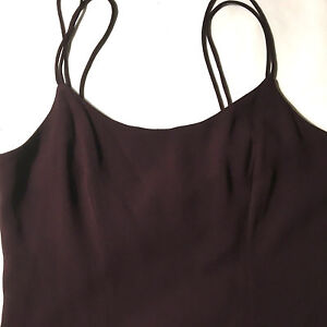 Tahari-Womens-Dress-Sundress-Size-10-Shift-Spaghetti-Strap-Sheath-Flare-Maroon