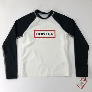 Hunter-For-Target-Men-039-s-Swim-Shirt-Long-Sleeve-Black-White-Box-Logo-UPF-50-2XL