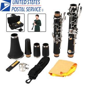 Clarinet-Bakelite-17-Key-B-Flat-Soprano-Nickel-Exquisite-With-Case-Care-Kit