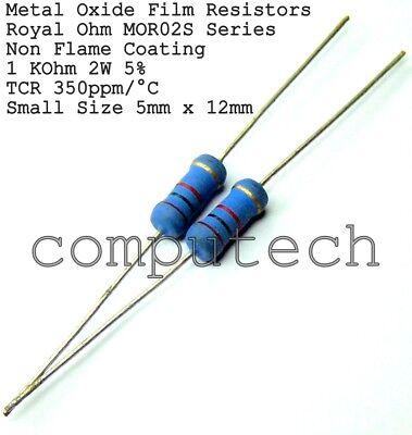 20 pezzi 2,2 KOhm Resistenze 1 Watt ossido di metallo 5/%