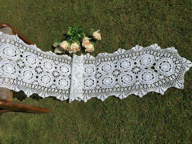 Elegant White Cotton Flower Hand Crochet Lace Table Runner  40cm x 200cm