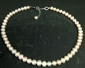 925-Sterling-Silver-Freshwater-Pearl-Necklace-17-25-inches-Seller-ref-17