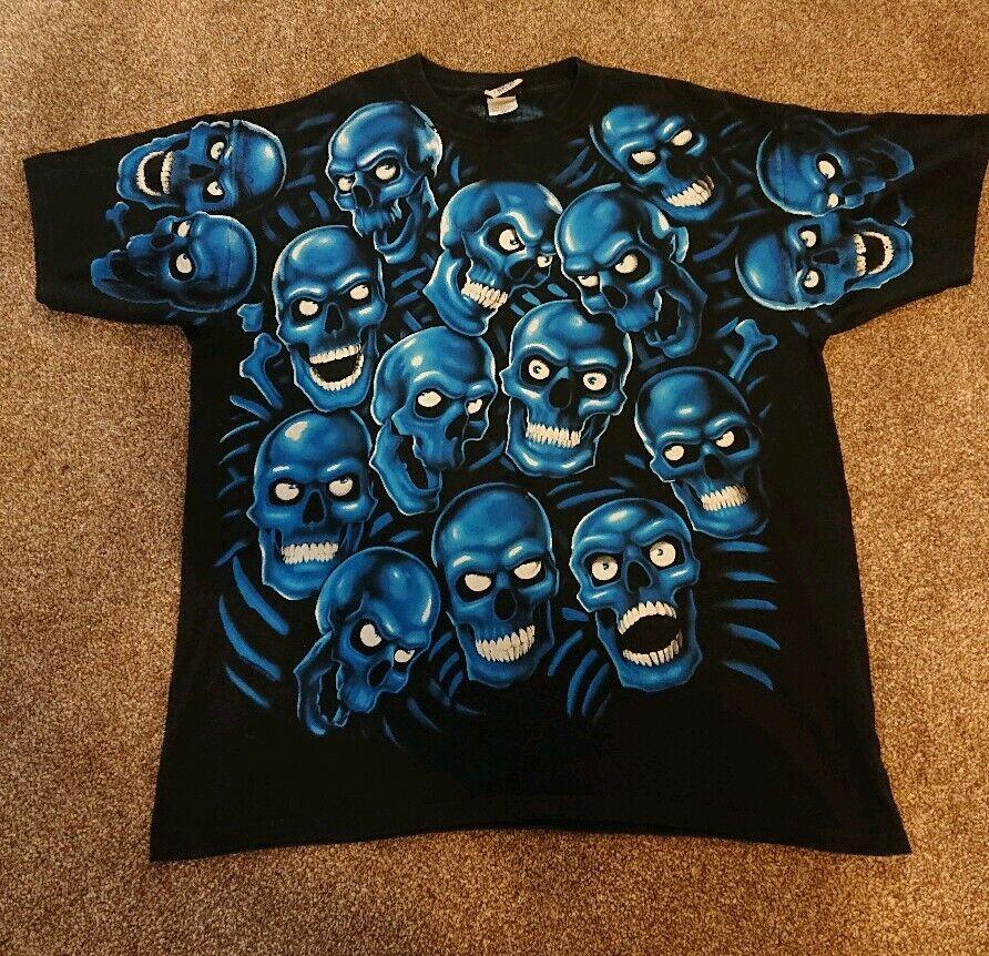 01ca4778f9a8 Mens Vintage Skull Pile Liqued bluee Travis Scott Tshirt Size 2XL ...