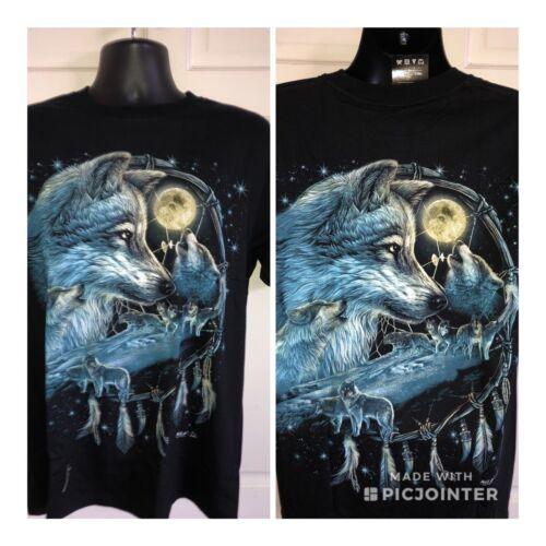 Large £ 11.99 Noir Unisexe Véritable Bleu Wolf Dream Catcher Imprimé T Shirt..