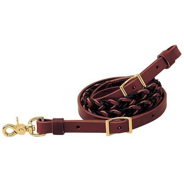 Weaver Leather TwoTone Latigo Leather 5Plait Roper Rein, 34 x 8'