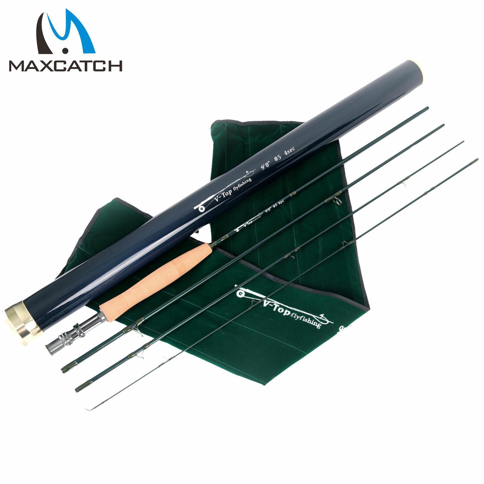Maxcatch Top Fly Rod 5 6 8WT 9FT IM12 Grafito mejor acción rápida Varilla de pesca con mosca