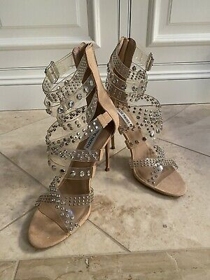 Astronave Planta de semillero Consumir  Steve Madden Women's Strappy Embellished Moto Sandal MC7 Clear Size 10M  829105902022 | eBay
