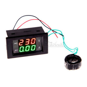 LED Digital AC Volt Amp Panel Multimeter Voltmeter Amperemeter 10A Rot Blau