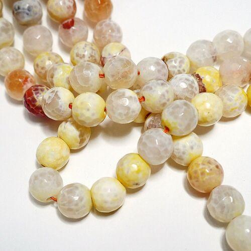 geniales veteado perlas piedras preciosas Strang Nellys Agata de fuego vainilla 10mm fac
