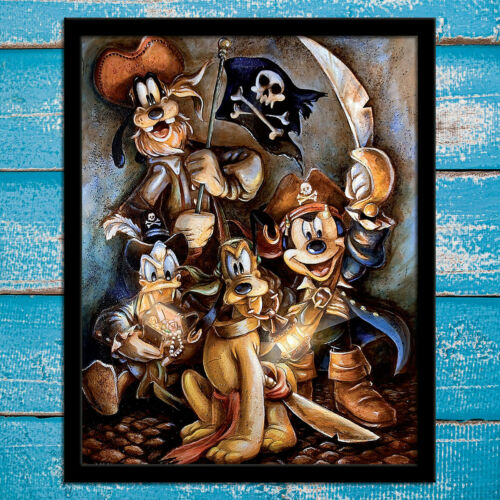 HD Print Canvas Painting Decor Mickey Mouse and Friends  Motley Crew Art 12x16