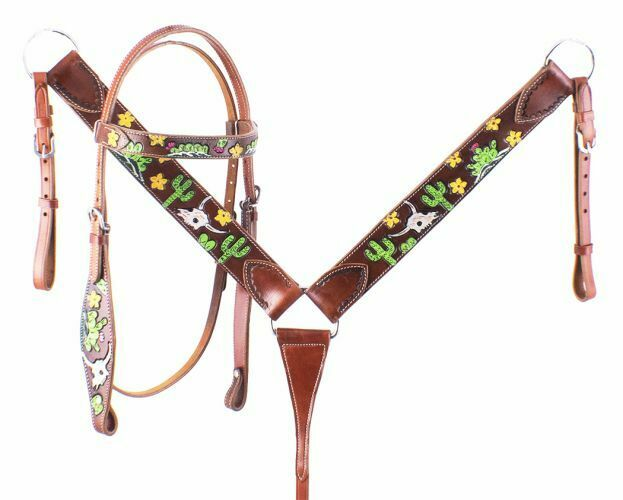 Showman Hand Painted Steer Skull & Cactus Headstall Breast Collar Set FREE SHIP