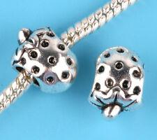 2pcs silver Strawberry Charm Spacer beads fit European Bracelet Chain #D27
