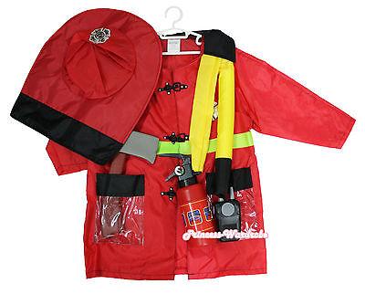 6PC Halloween Party Firefighter Fireman Costume Hat Uniform Occupation 3-7Y C51