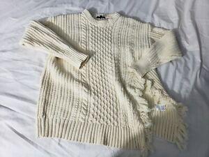 fcffeca9843668 J.Crew Cable knit Sweater Fringe Cream Sz Medium H3677 Fisherman ...