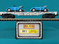 30-8311 Mth Railking O/o27 Western Pacific Die-cast Flatcar W'67 Volkswagons