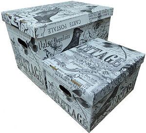 aufbewahrungsbox retro karton pappe mit deckel kiste schachtel 47 l und 15 l ebay. Black Bedroom Furniture Sets. Home Design Ideas