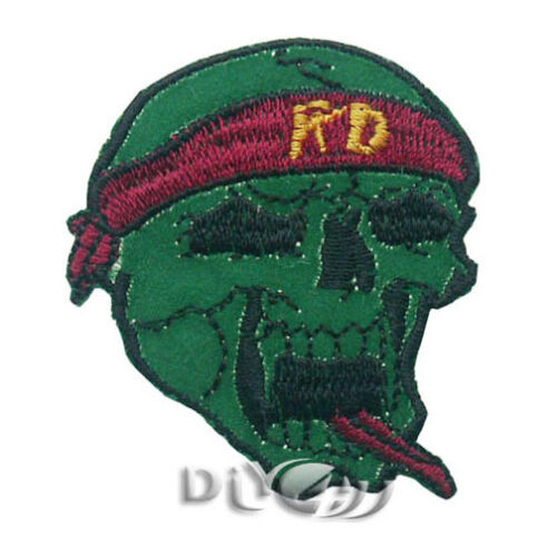 Green Skull Red Tongue HD Patch Iron On Sew On Embroidered Bag Applique DIY