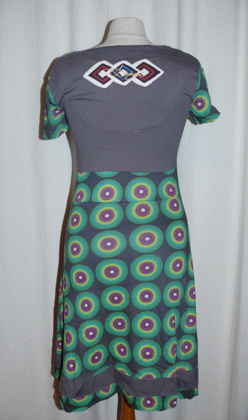 DESIGUAL DESIGUAL DESIGUAL stylische Kurzarm Kleid Tageskleid LAURA grey multicolor XS NEU 402d94