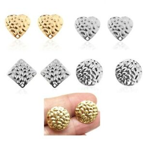 Uneven-Surface-Round-Drop-Earring-Stud-Post-Gold-Earring-Findings-Jewelry-Making