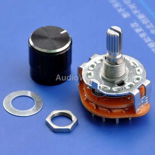 2 Pole 6 Way MBB Rotary Switches with Knobs x4PCS