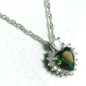 White-Gold-Pendant-Chain-Necklace-Heart-Cut-Green-Emerald-Diamante-GF-PlumUK-BOX
