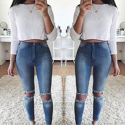 Women Jeans  Mid-waist Holes Jeans Vintage Classic Denim Long Pencil Pants