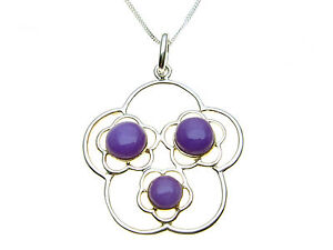 Sterling-Silver-pendant-set-with-purple-stones-and-complete-with-necklet-chain