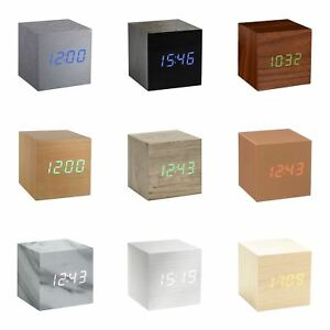 Details about Gingko Cube LED Click Clock Alarm Clock Sound Activated Time,  Date & Temperature