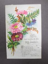 Antique Christmas Greetings Card Chrysanthemums Ferns Spray Havergal Chromo