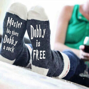 Women-Men-Unisex-Thicken-Socks-Cotton-Knitted-Funny-Letters-034-Dobby-is-free-034