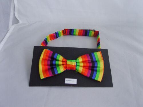 Rainbow Mens Bow tie/>1st Class/>Matching Cummerbund /& Hankies are Available Vrt