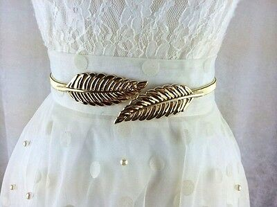 1x Chic Ladies Metal Gold/Silver Chain Leaf Waist Elasticity Belt Waistband - LD