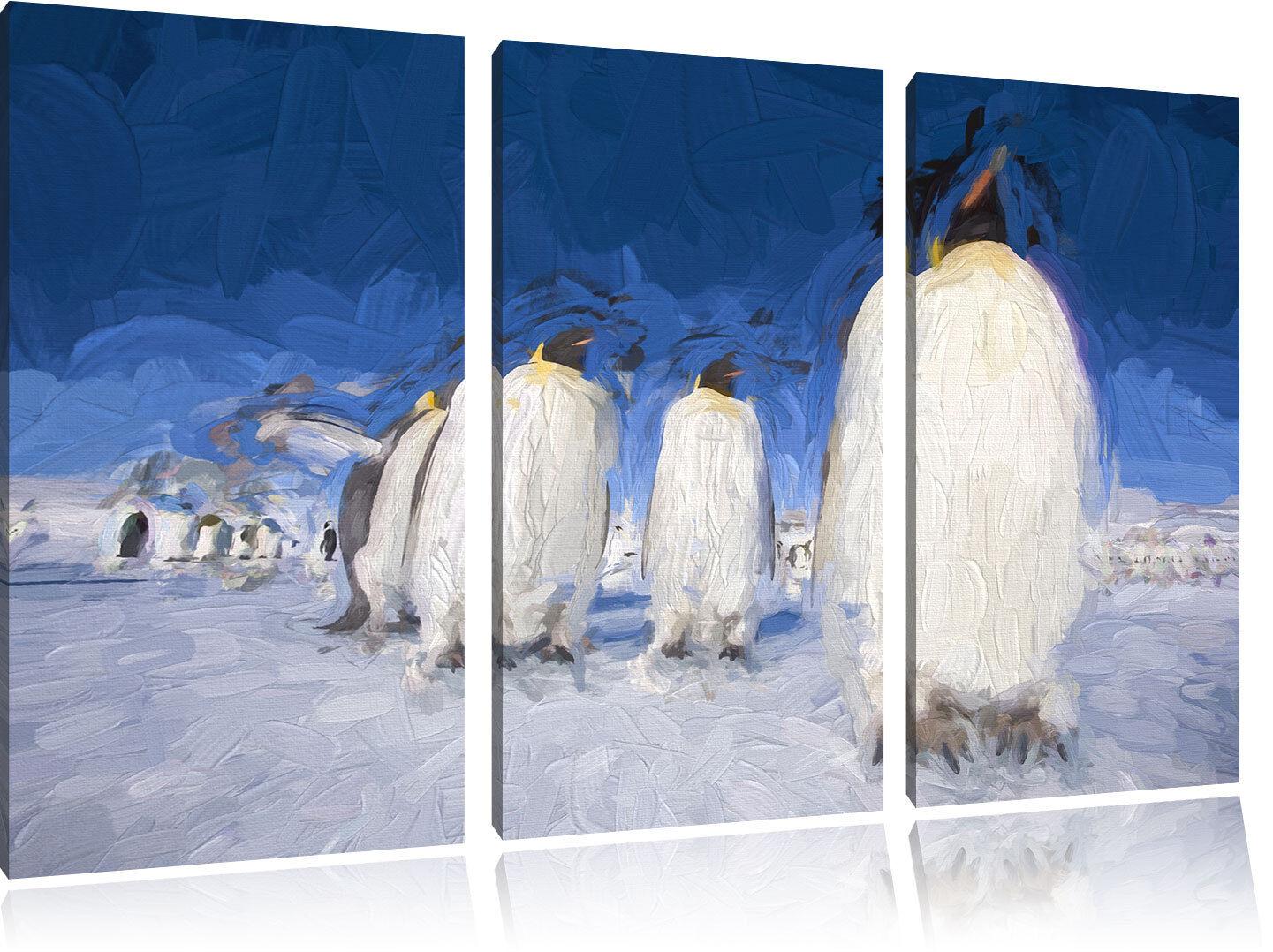 Kaiserpiguine in Antarktis Kunst Pinsel Effekt 3-Teiler Leinwandbild Wanddeko Ku