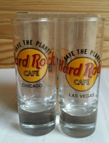 Hard Rock Cafe SHOT GLASS Save the Planet Chicago Vegas Black Letters Set 2 NEW