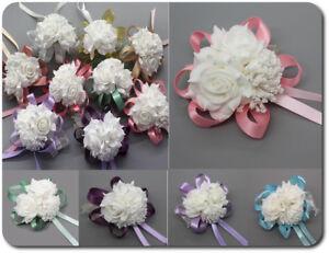 Herzhaft Armband Blume Schleife Bändchen Blumenmädchen Brautjungfer Hochzeit 8 Farben