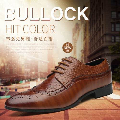 Men/'s Formal Dress Oxfords Shoes Leather Suit Lace up Wing Tip Wedding Fashion