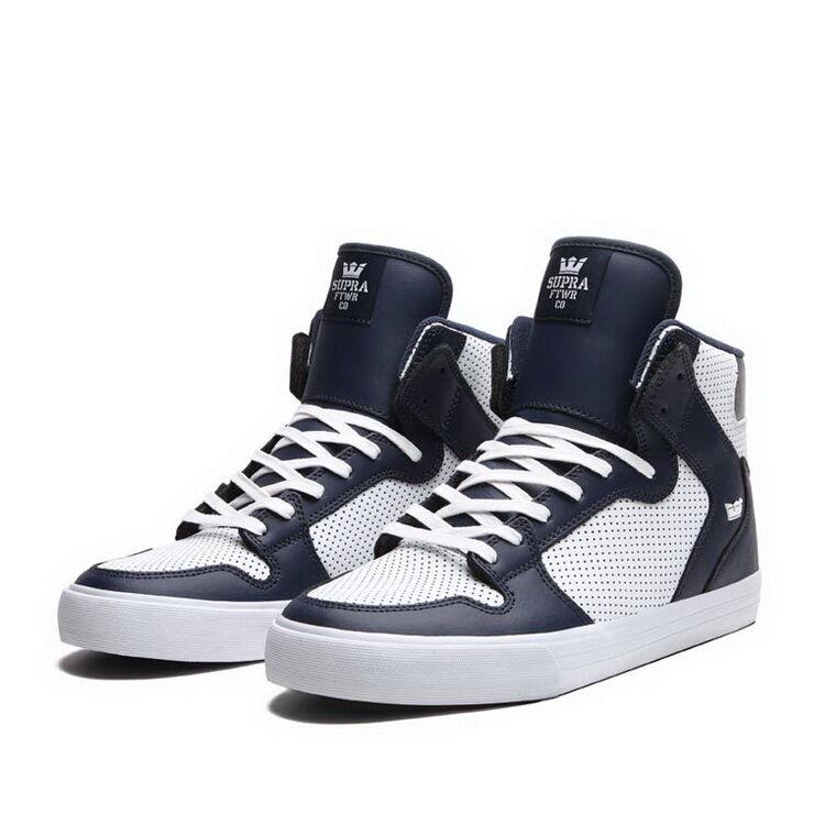 S28119 Supra Vaider Skateboard schuhe Leather Navy Weiß Größes 8-12 New In Box