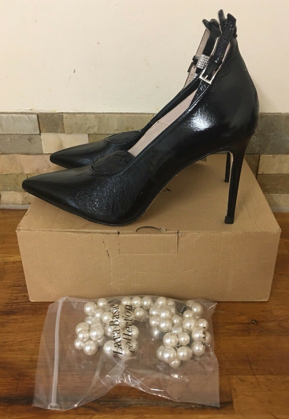 ZARA High Heel Court Shoes With Beaded Ankle Strap Size UK 8/EU 41