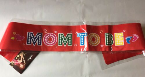BABY SHOWER SASH  MUMMY TO BE SASH MUM PARTY SATIN MOM GIFT RIBBON ACCESSORY