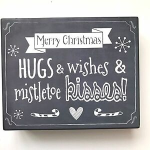 image is loading merry christmas wood sign hugs amp wishes amp - Merry Christmas Wooden Sign