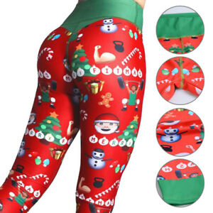 9a61d0f9c931a Image is loading Lady-Christmas-Printed-Gym-Bowknot-Leggings-Fitness-Pants-