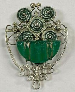 Ancien-Art-Deco-Argent-Ton-Robe-Pince-Avec-Vert-Pierre-PAT-1852188