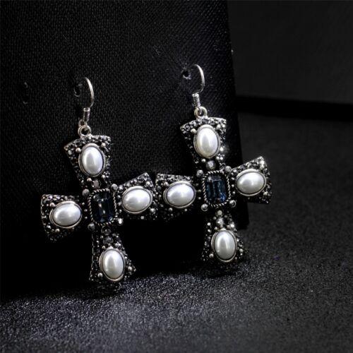 Boucles d/'Oreilles Argenté Cristal Gris Chandelier Croix Perle Blanc Baroque A27