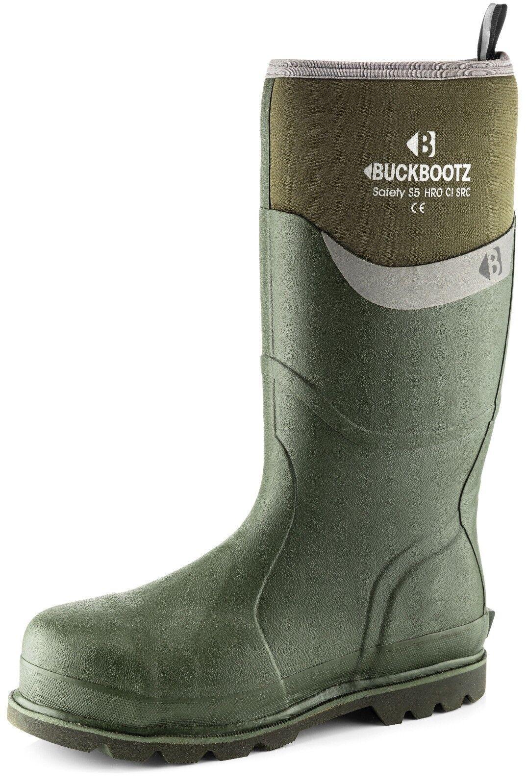 Buckler BBZ6000GR caoutchouc étanche sécurité Vert Wellington Bottes (Taille 5-13)